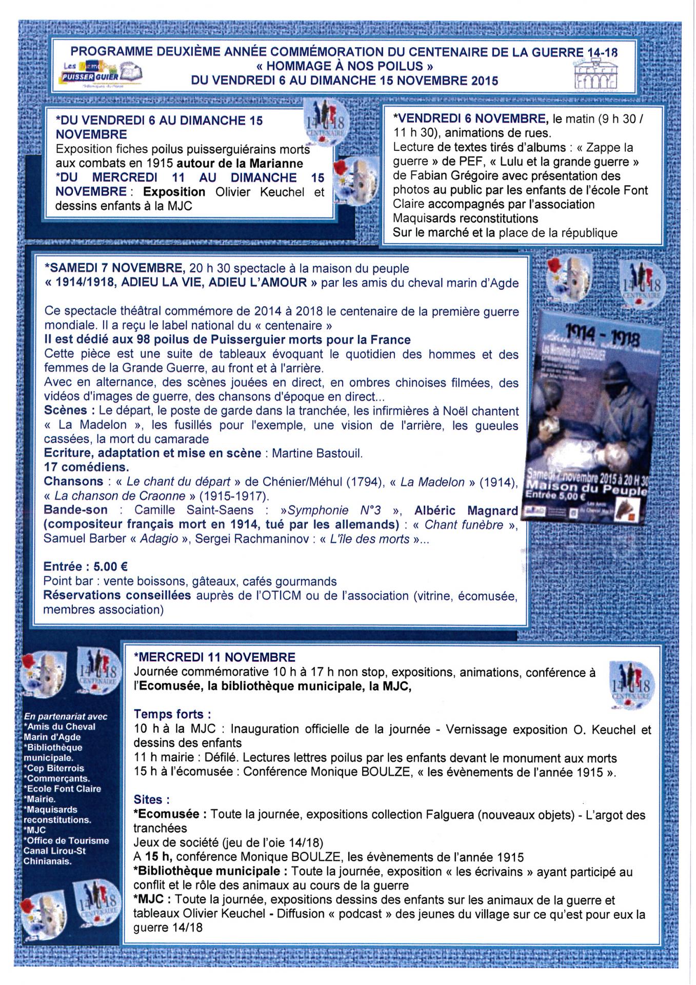 2015 11 06 programme commemoration guerre 14 18 puisserguier
