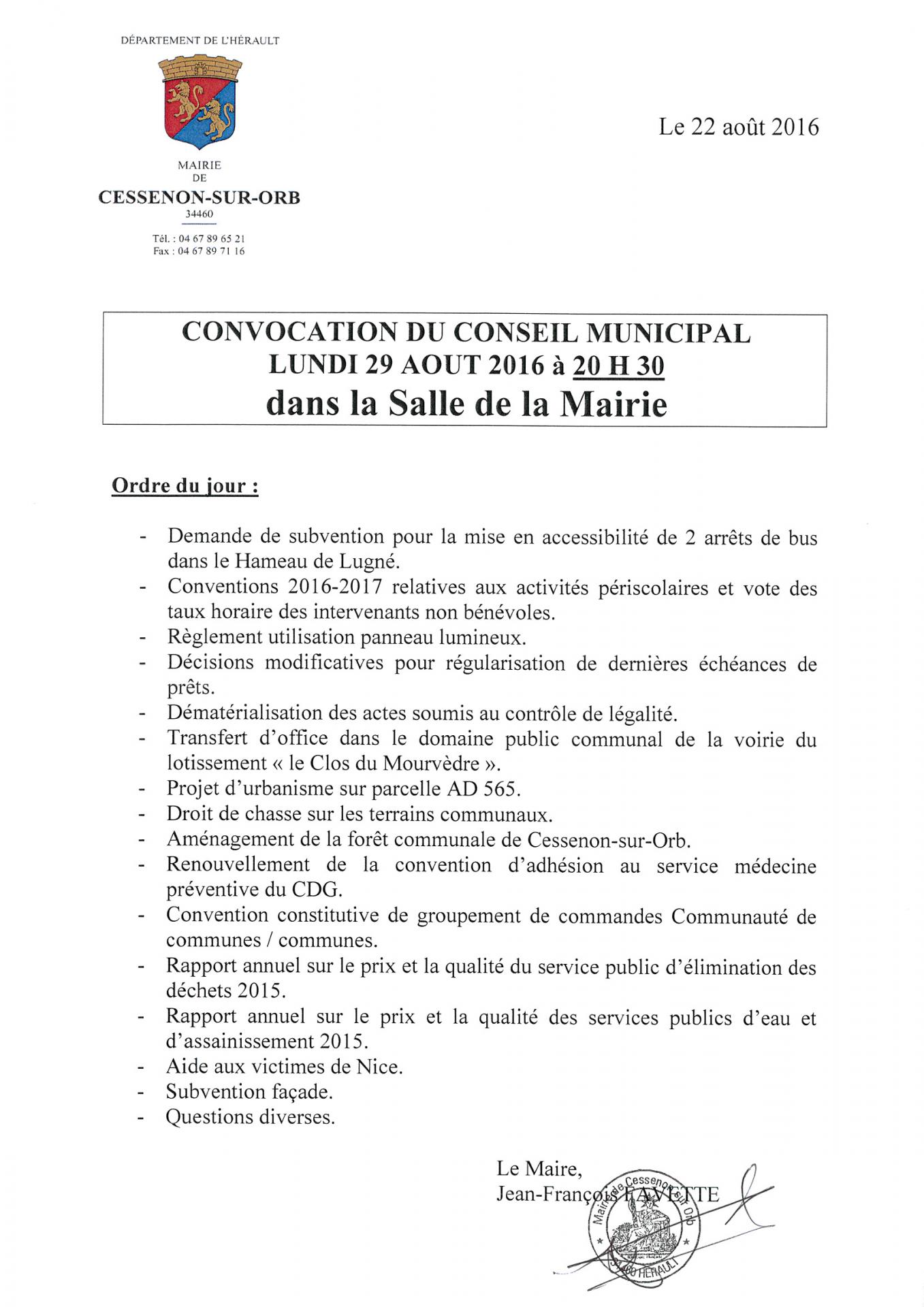 2016 08 29 conseil municipal