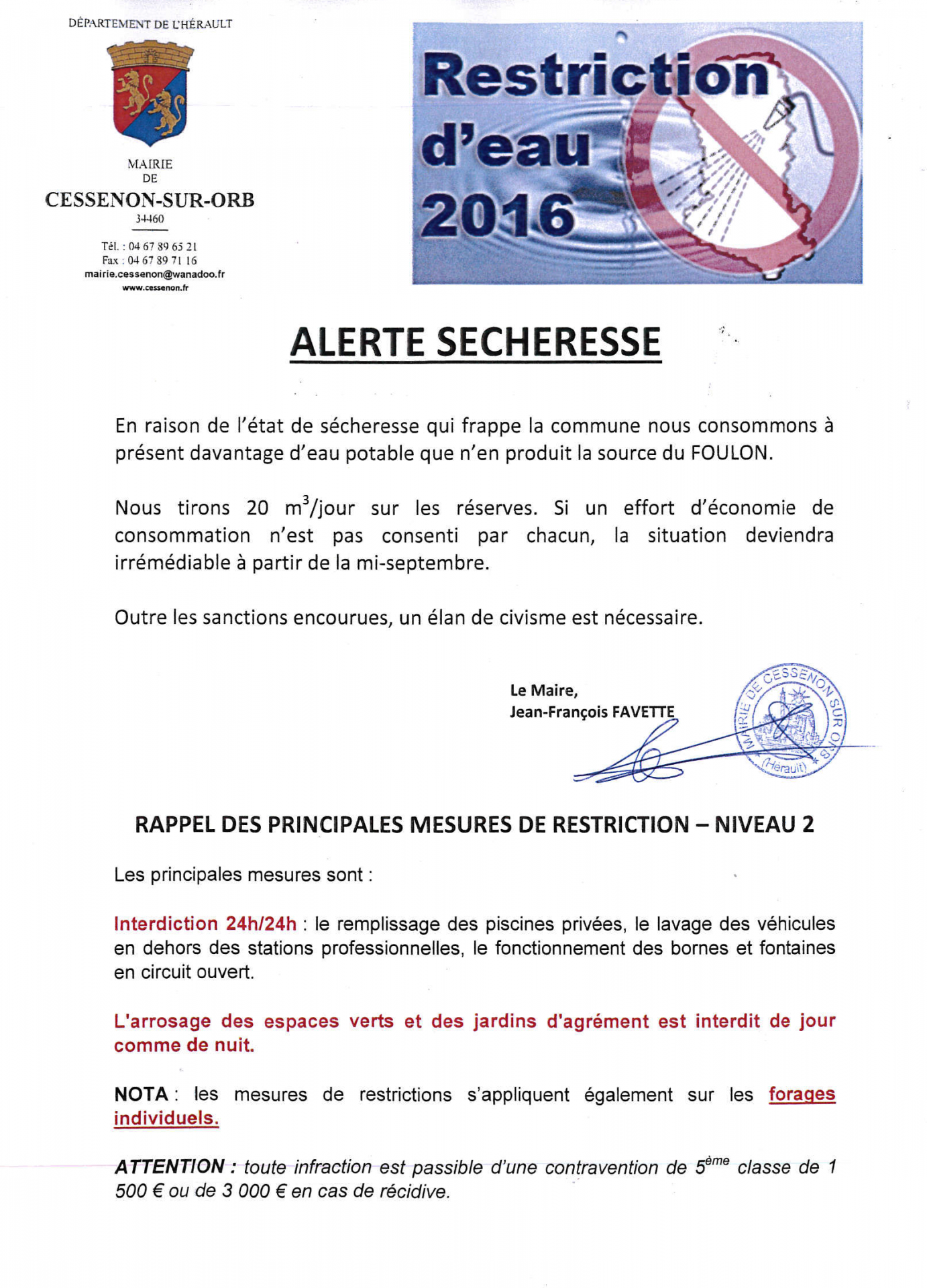 2016 09 06 restriction secheresse niveau 2