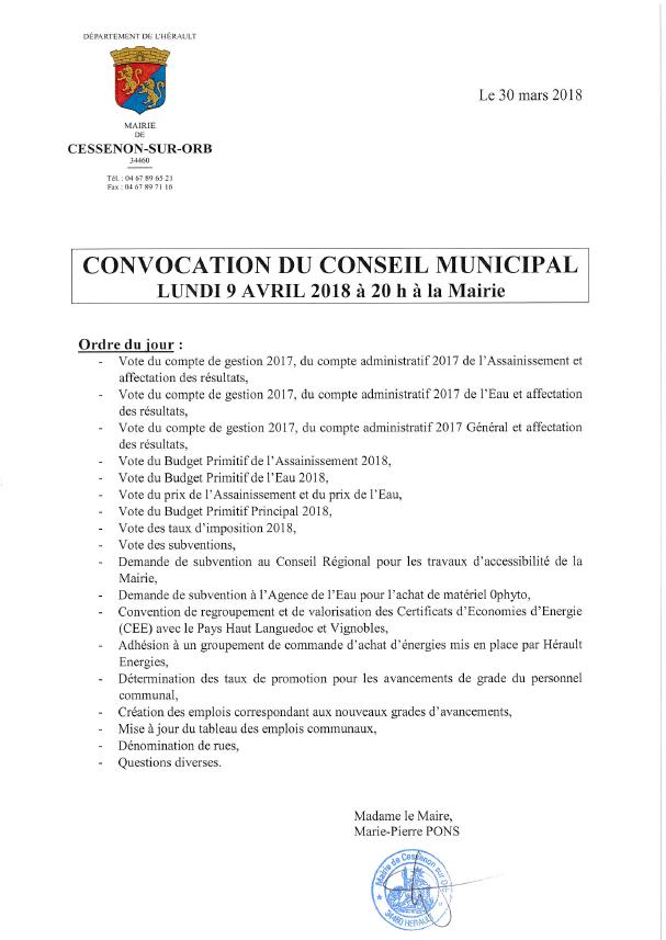 2018 04 09 conseil municipal