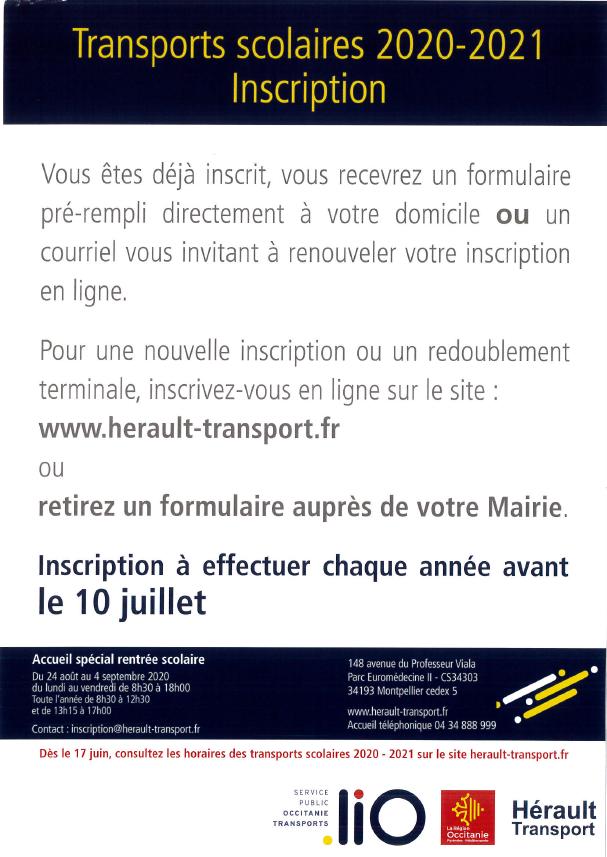 Inscription transports scolaires 2020/2021