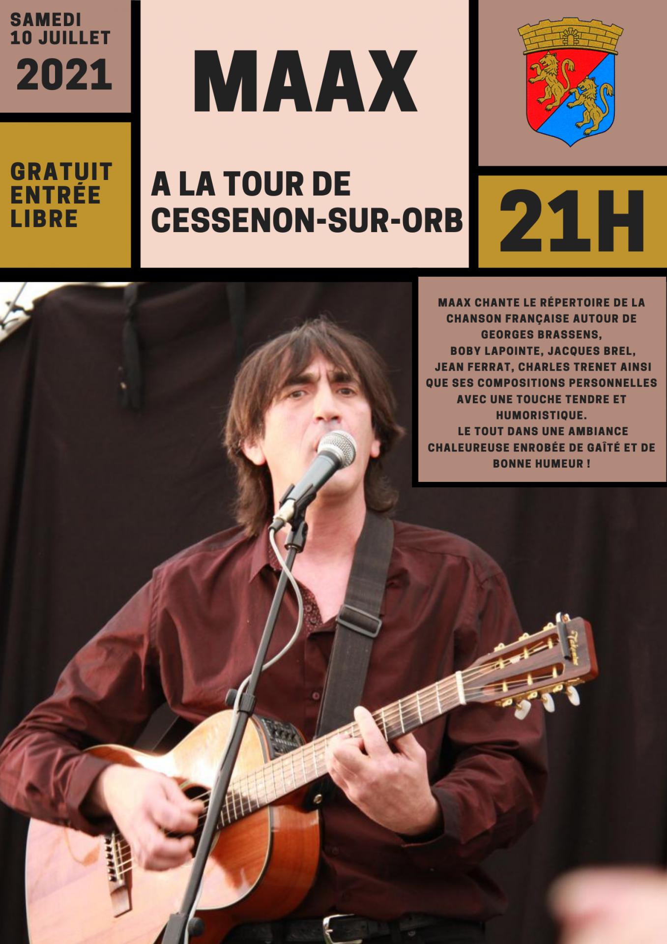 10 juillet 2021 concert a la tour de cessenon avec maax a 21h00